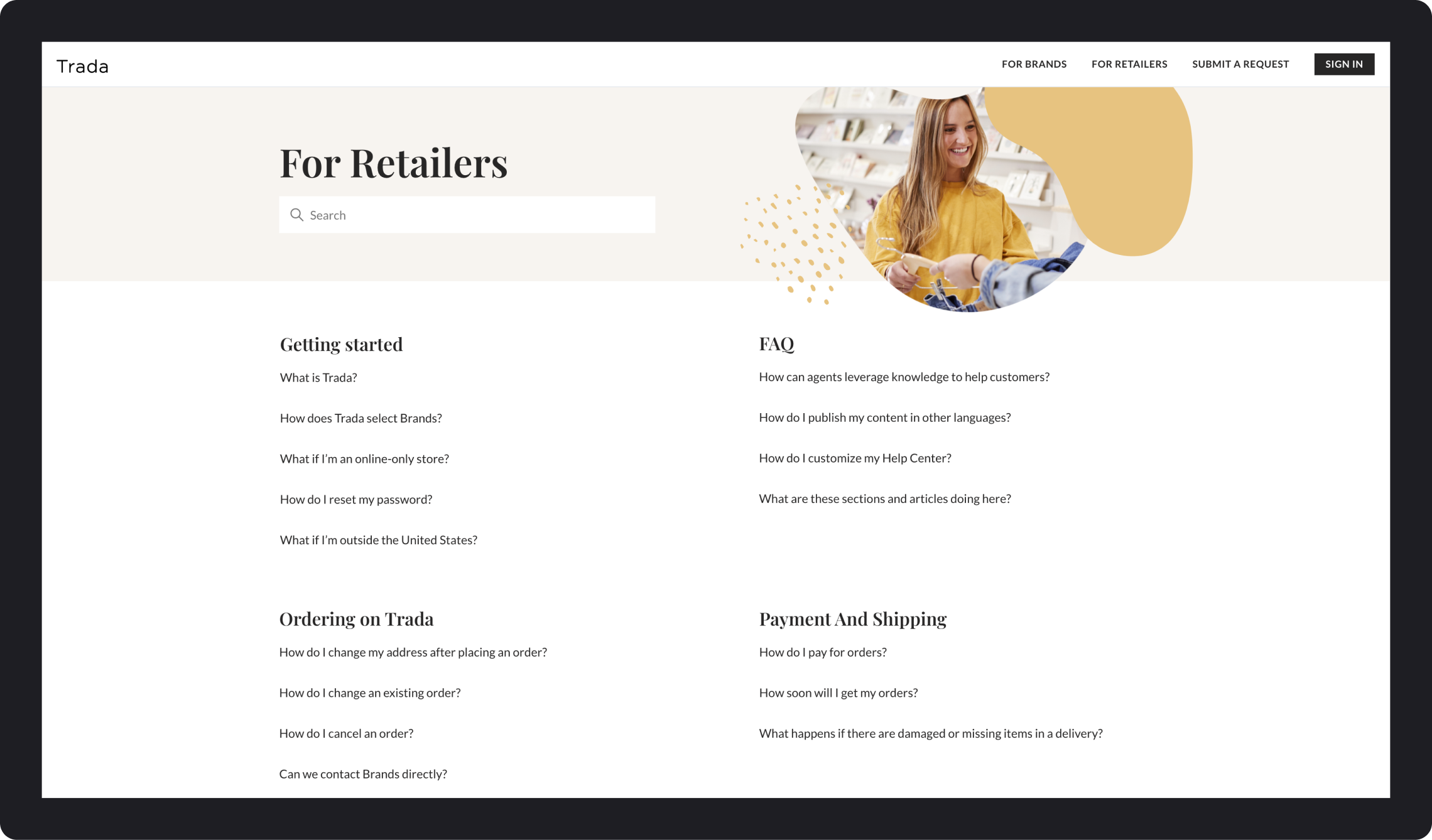 Trada Retailers Category Page