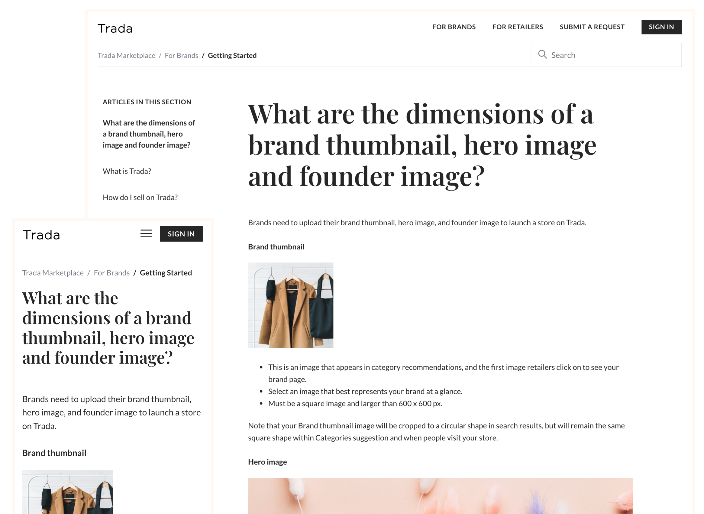 Trada article page