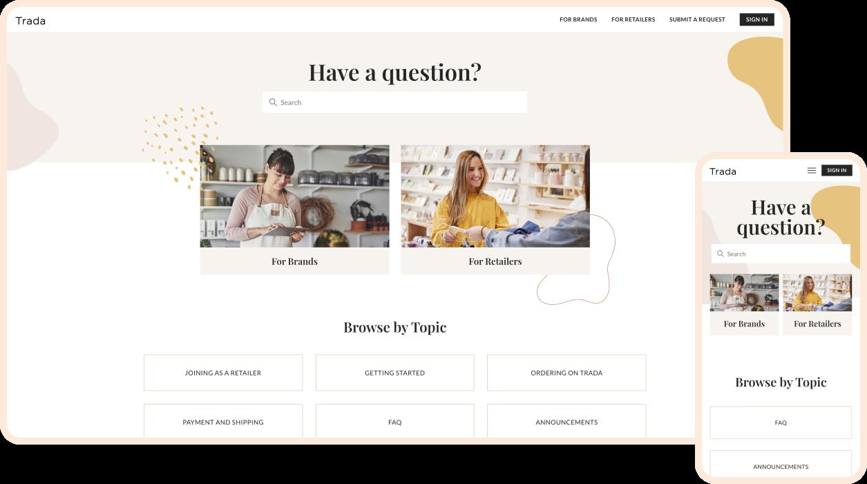 trada market homepage mockup
