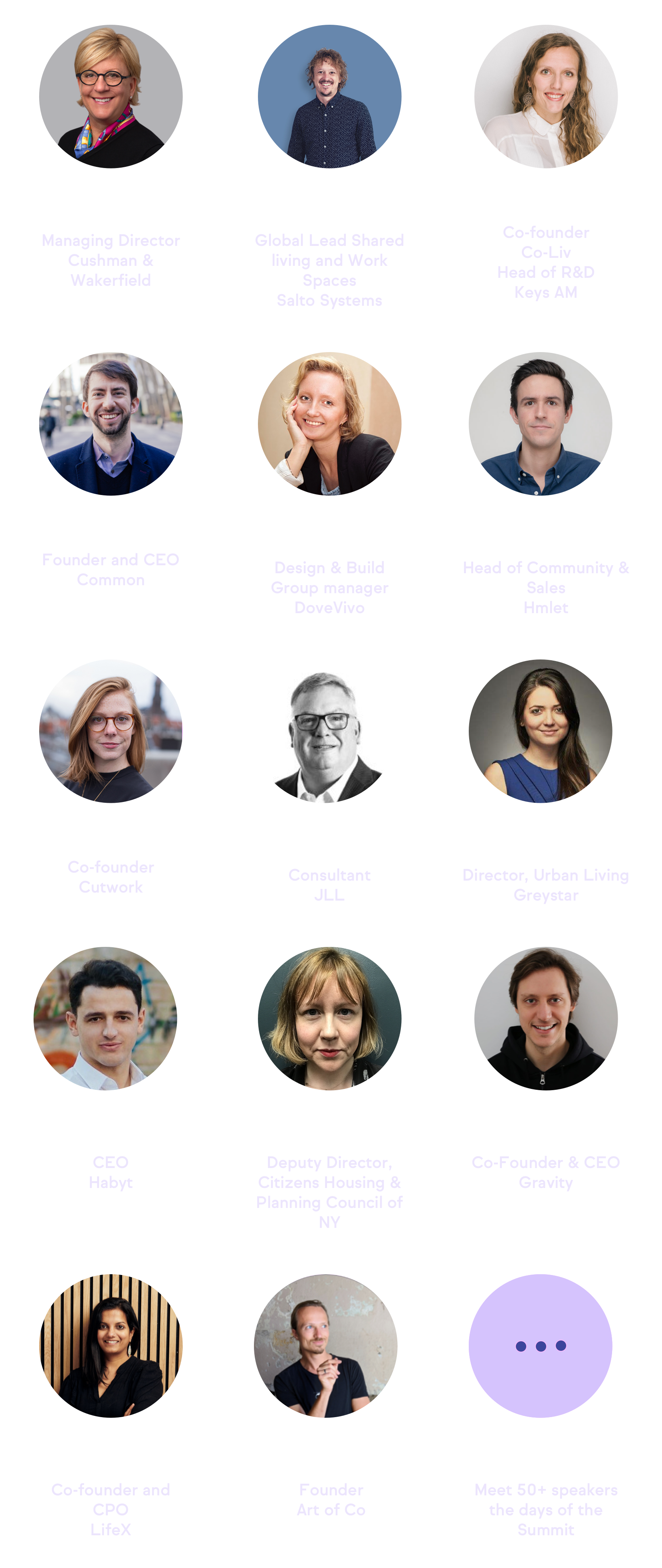 Speakers of the 2021 Co-Liv Summit
