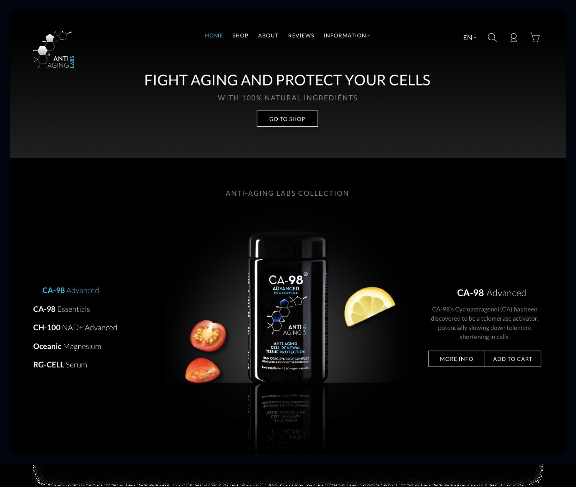 Studio Flabbergasted Portfolio - Screenshot Homepage Desktop Anti Aging Labs