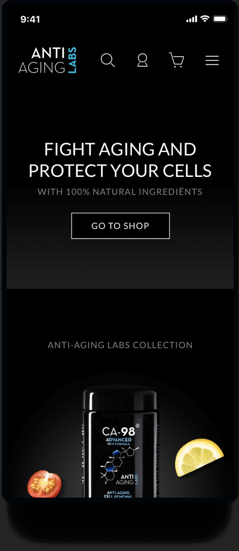 Studio Flabbergasted Portfolio - Screenshot Homepage Mobiel Anti Aging Labs