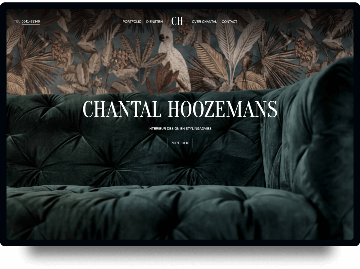 Studio Flabbergasted Portfolio - Screenshot Homepage Desktop Chantal Hoozemans