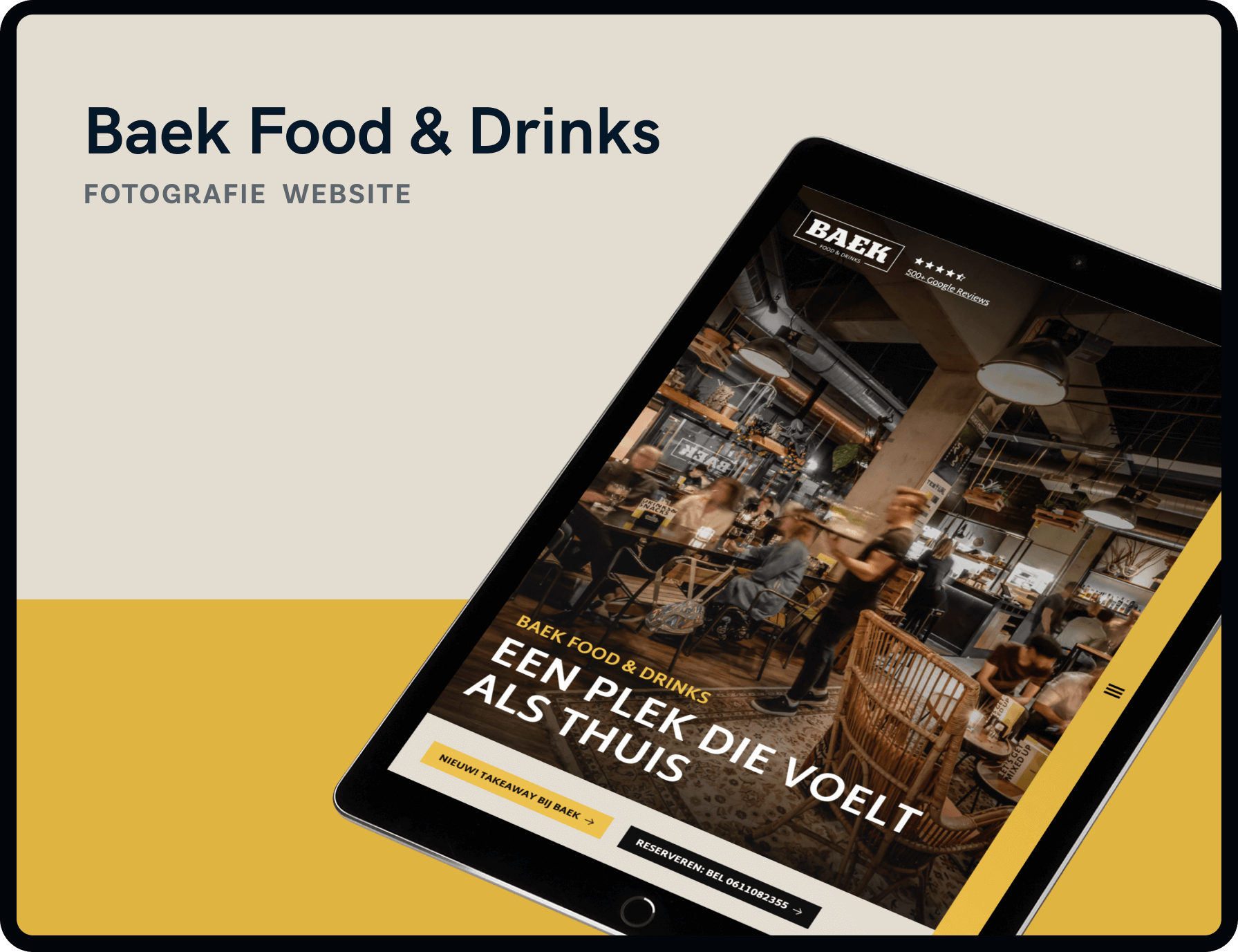 Screenshot van homepage Baek Food & Drinks | Studio Flabbergasted