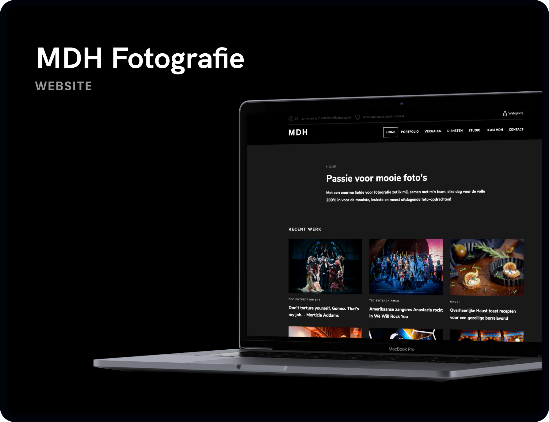 Screenshot van homepage MDH Fotografie & Design | Studio Flabbergasted