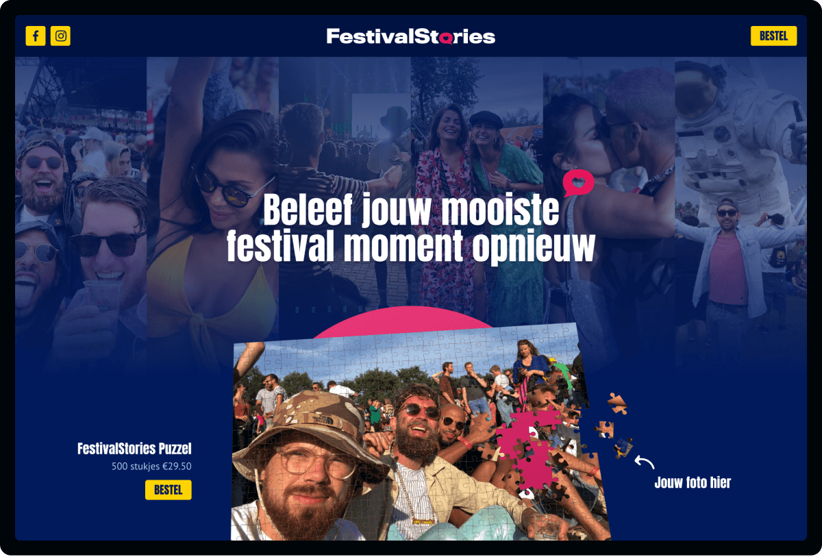 Screenshot van homepage FestivalStories | Studio Flabbergasted