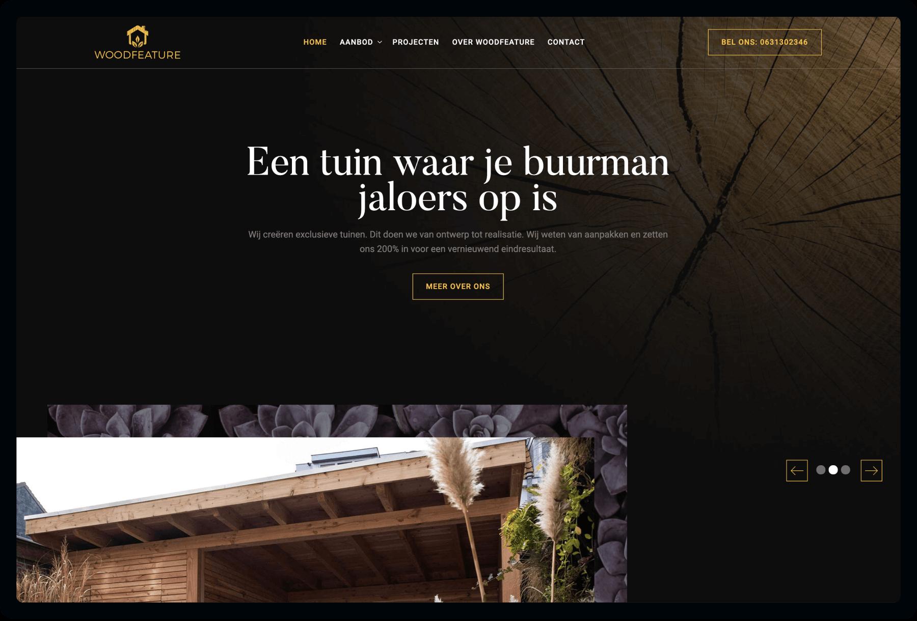 Screenshot van homepage Woodfeature | Studio Flabbergasted