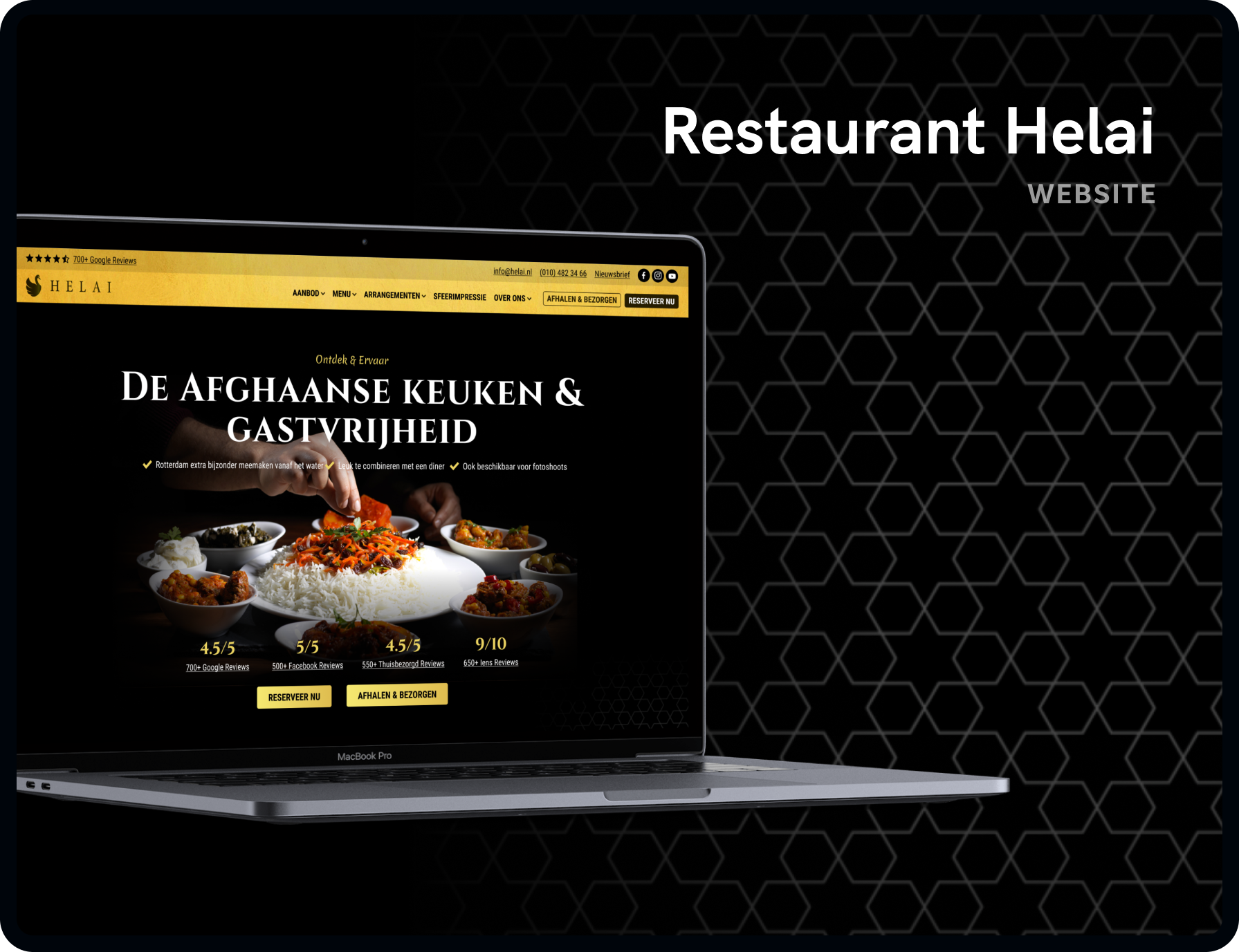 Screenshot van de homepage Restaurant Helai | Studio Flabbergasted