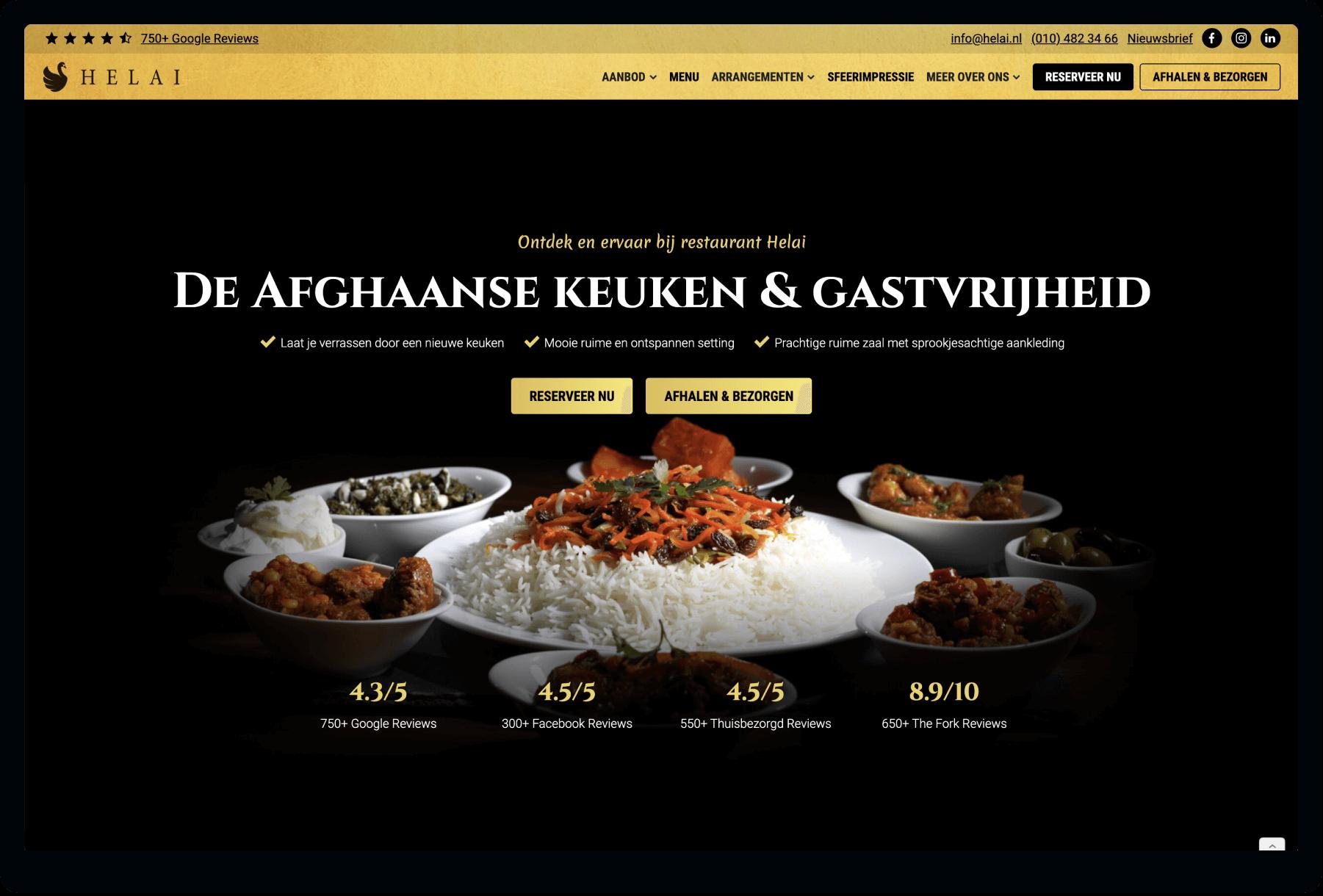 Screenshot van homepage Restaurant Helai | Studio Flabbergasted