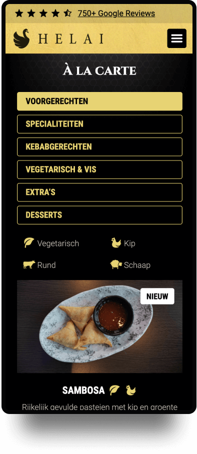Screenshot van de mobiele website Restaurant Helai | Studio Flabbergasted