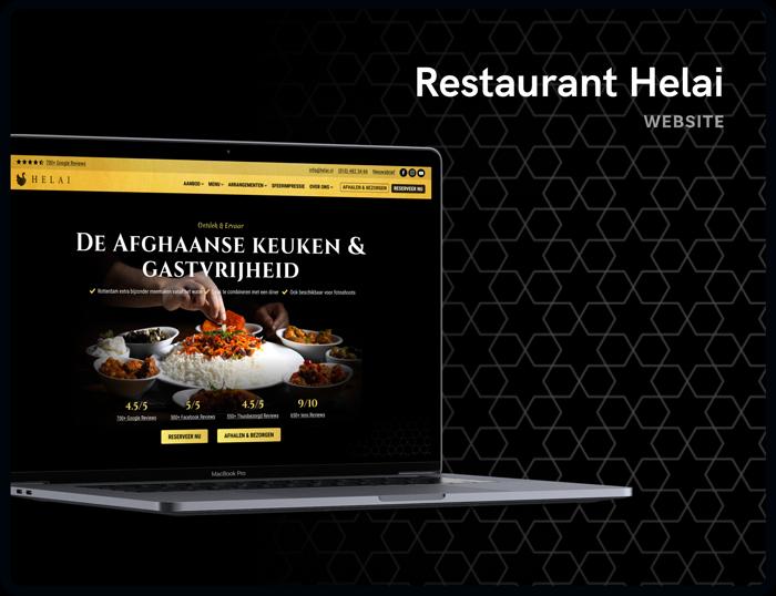 Screenshot van de homepage Restaurant Helai | Studio Flabbergasted