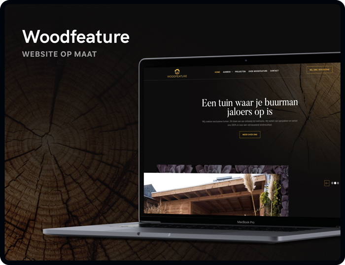 Website op maat voor Woodfeautre gemaakt door Studio Flabbergasted