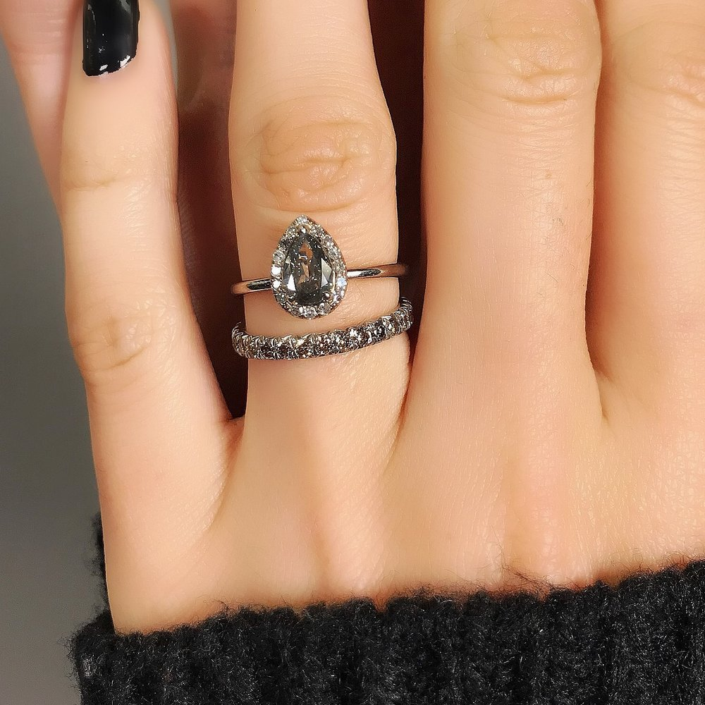 Stacked Diamond Halo Alternative Engagement Rings In Mixed Metals David Alan Jewelry
