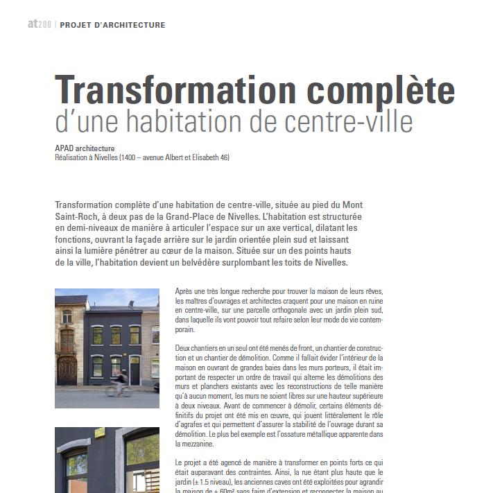 architrave - mai 2019 - Transformation complète d'une habitation de centre-ville