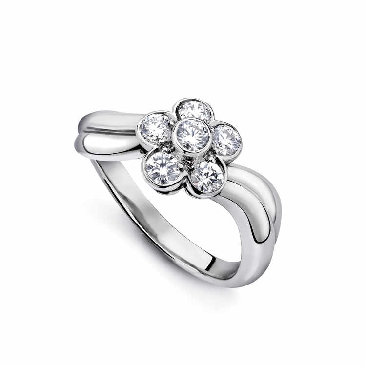 classic cluster diamond engagement ring
