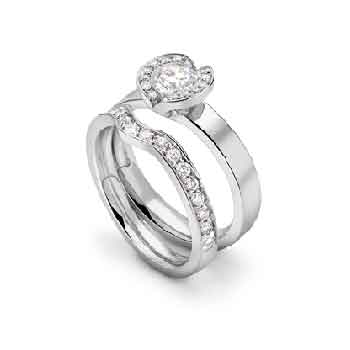 Wide band semi halo engagement ring