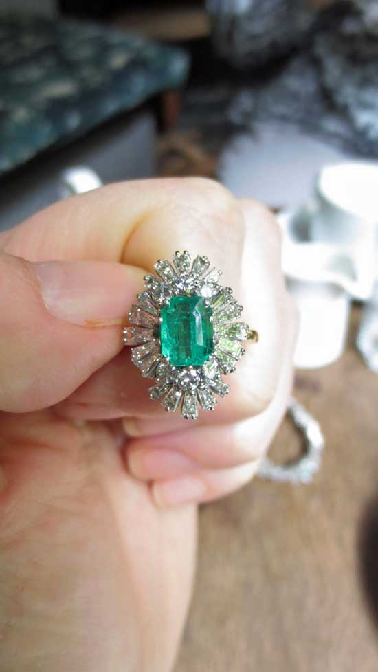 1950s vintage emerald and diamond ring