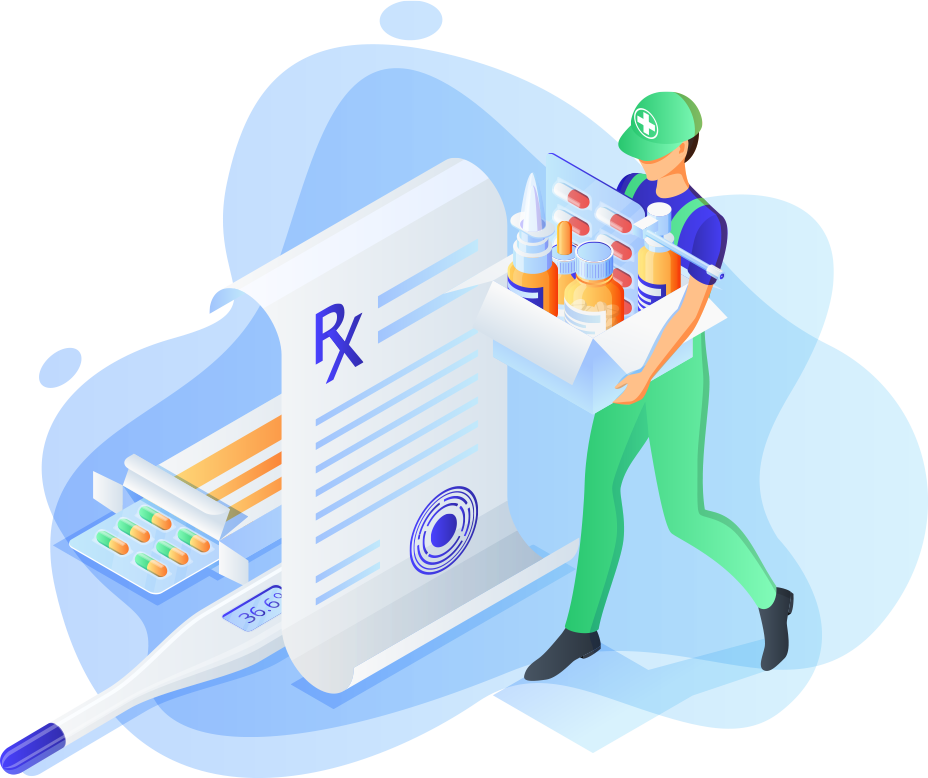 image of a pharmco r x pharmacist delivering medications