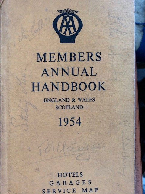Signed 1954 AA Handbook: Mike Hawthorn, Peter Collins. Jean Behra