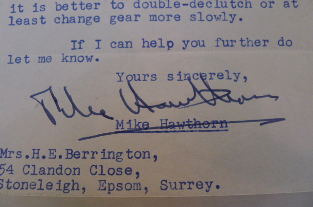 Mike Hawthorn signed letter 1953
