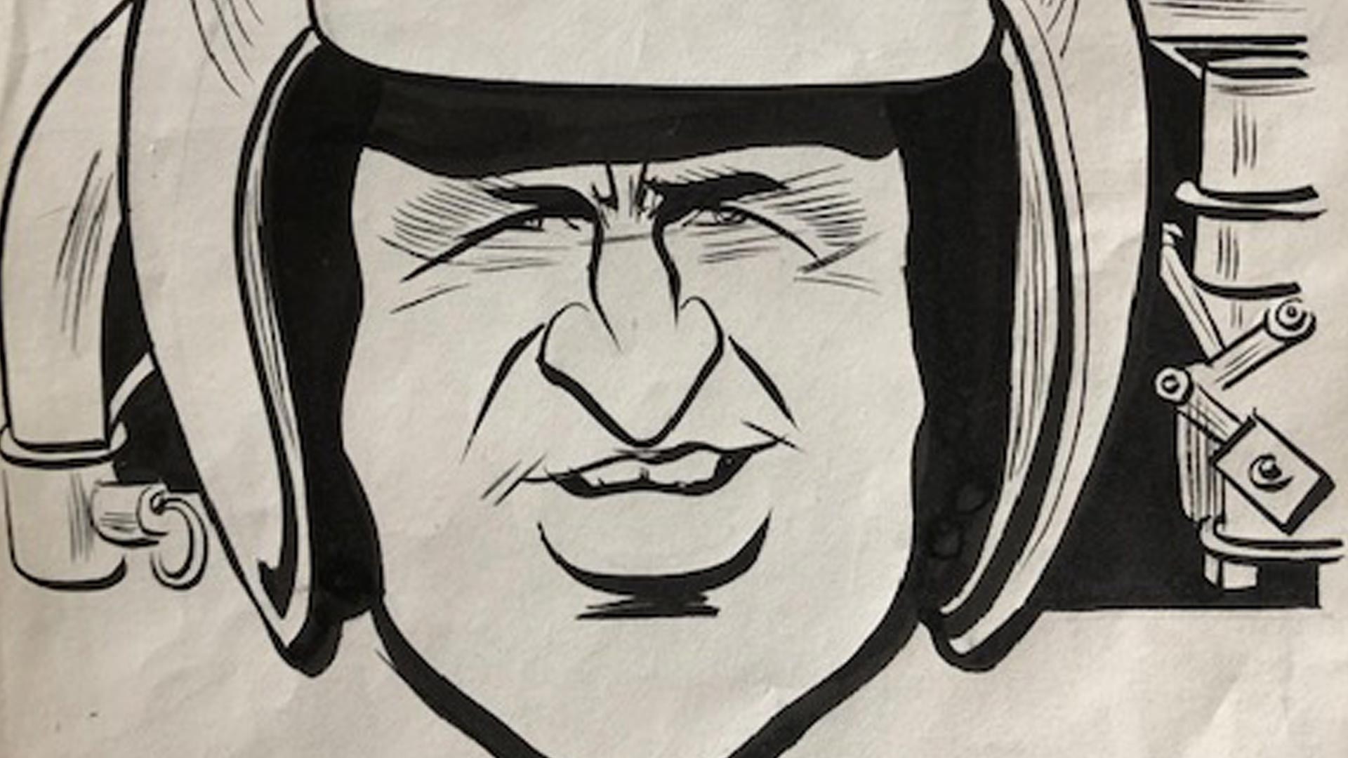 Denny Hulme Original Cartoon