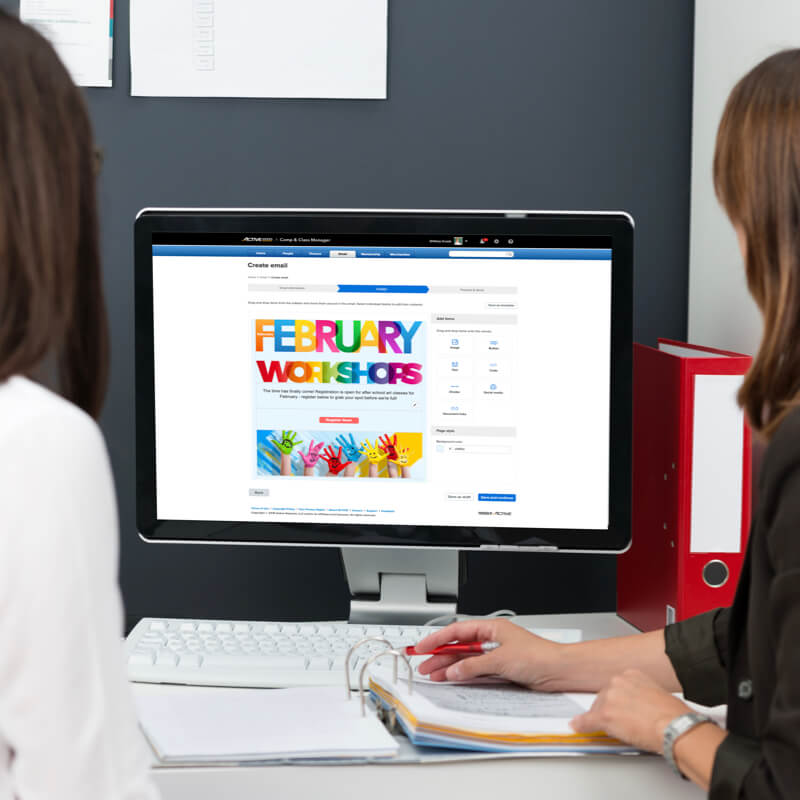 two women using camp and class manager drag and drop email tool