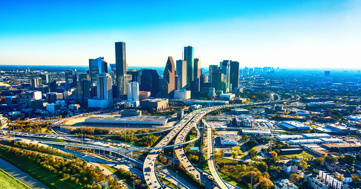 City of Houston downtown skyline.