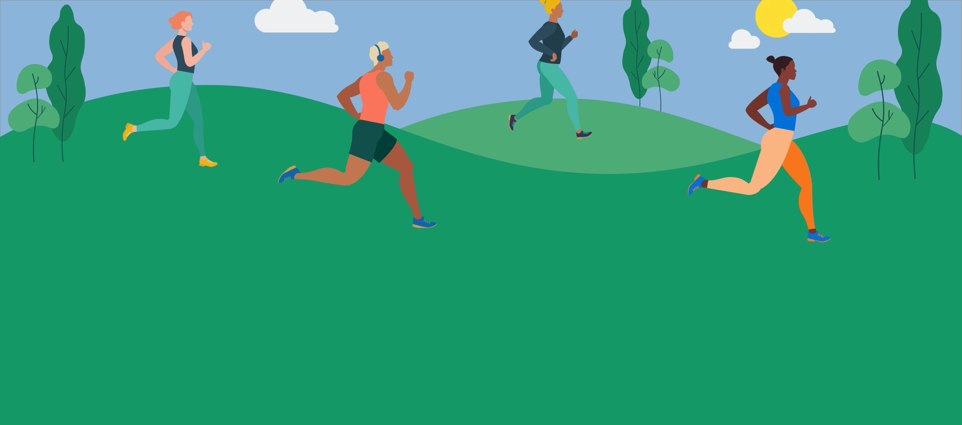 Animated outdoor shot of people running.
