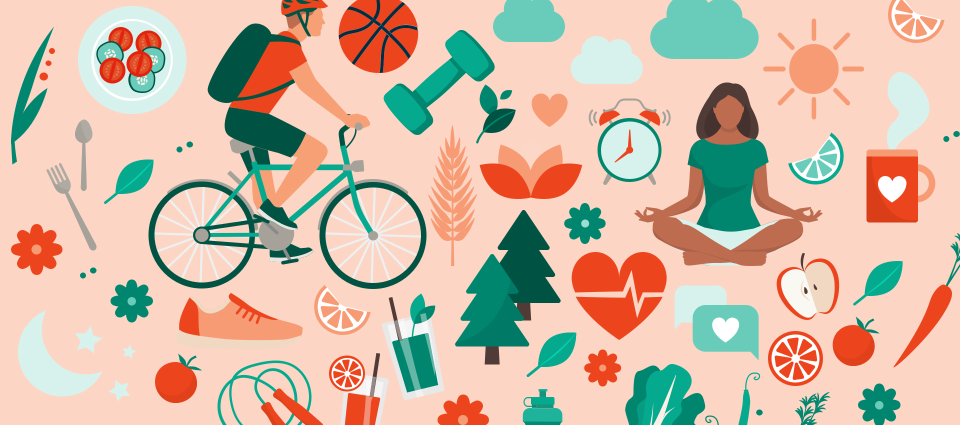 national wellness month illustration of man riding bike and women doing yoga