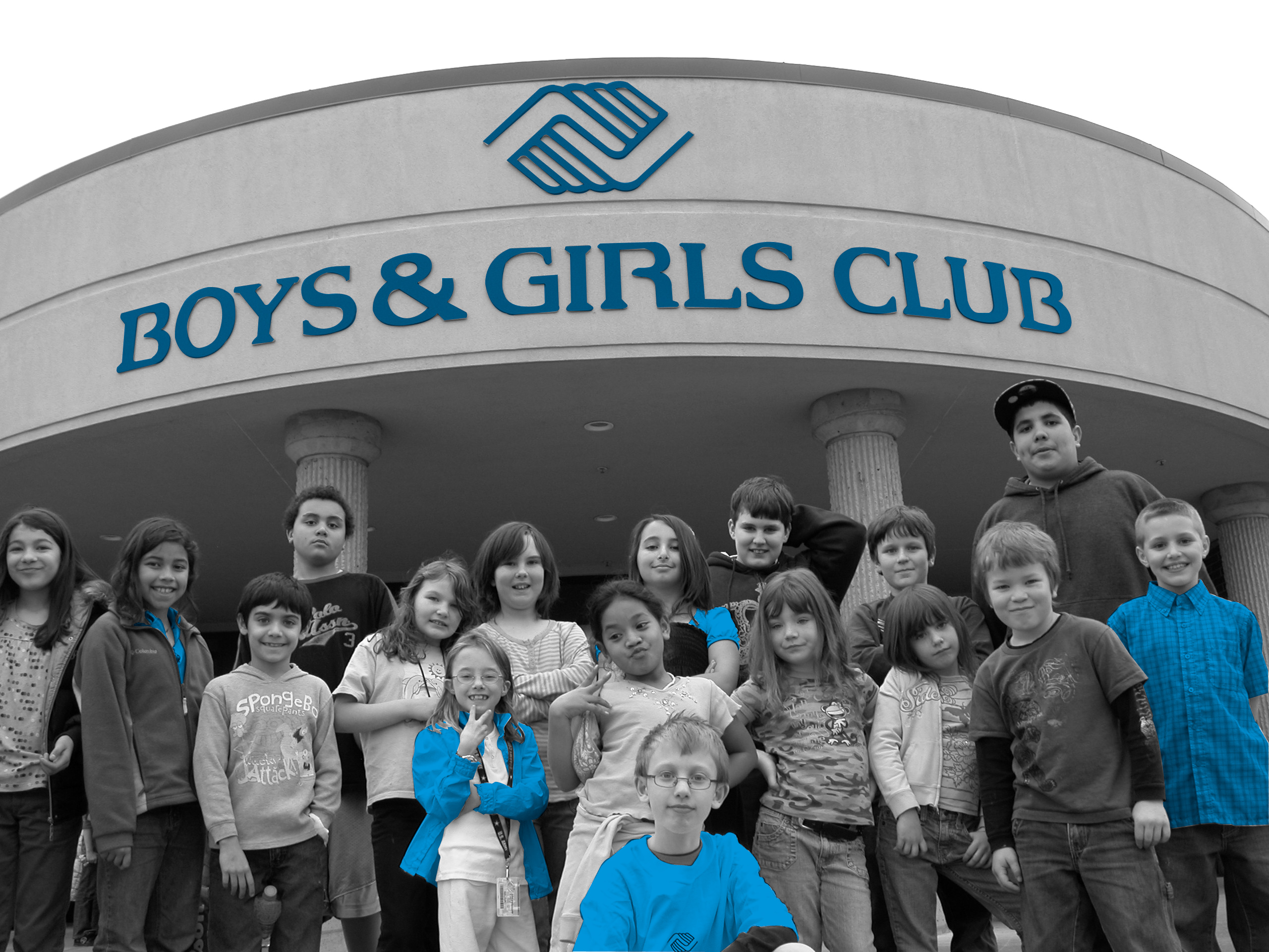 Children in front of the Boys & Girls Club of Corvallis.