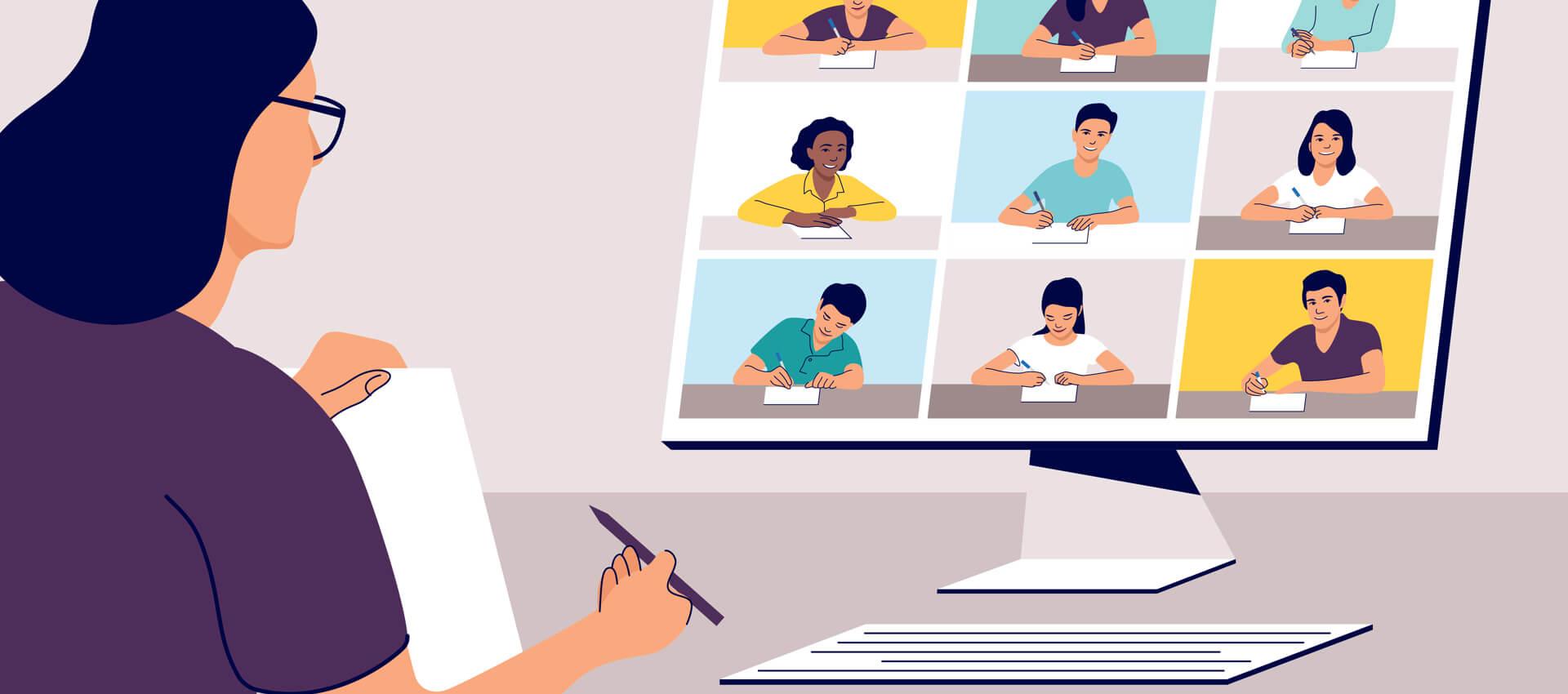 illustration of teacher teaching program virtually