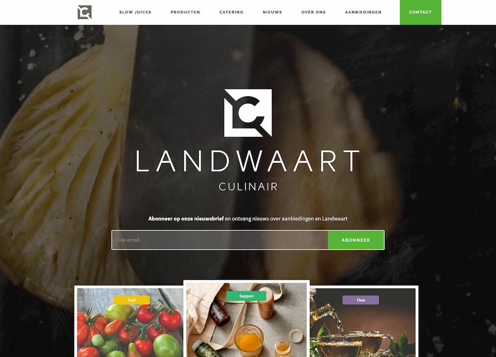 A website built by Websiteking showing a background video and the Landwaar culinair logo