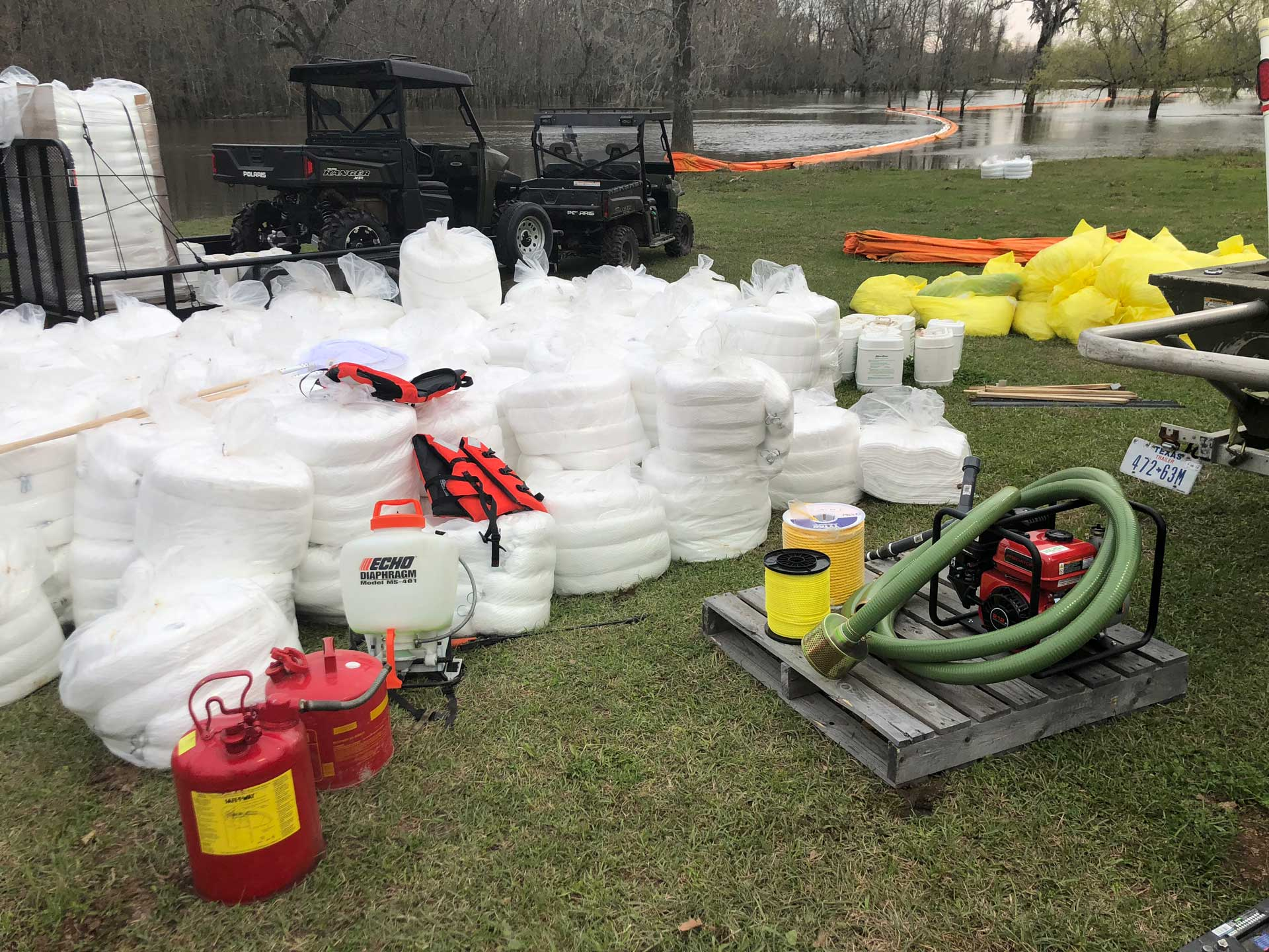 oil spill response equipment in a field with carts