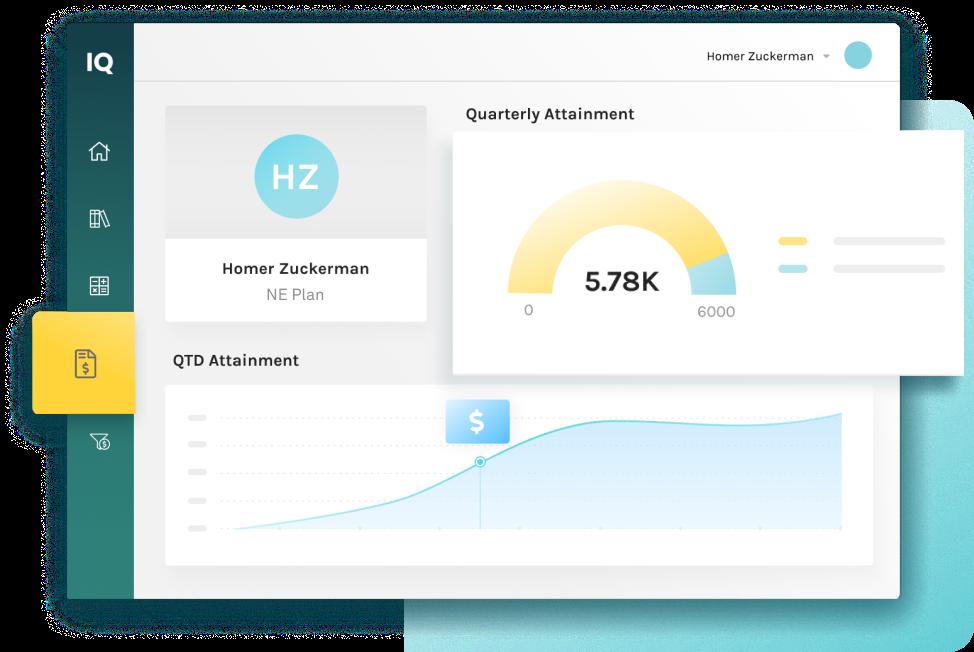 screenshot of employee's quarterly attainment in Captivate IQ