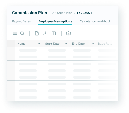 screenshot of employee assumptions in commission plan software