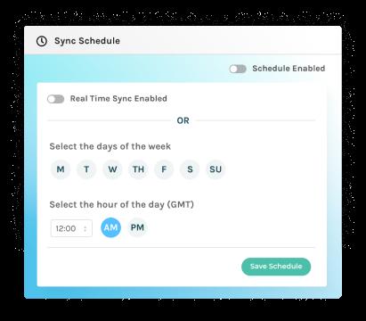 screenshot of data sync schedule in Captivate IQ