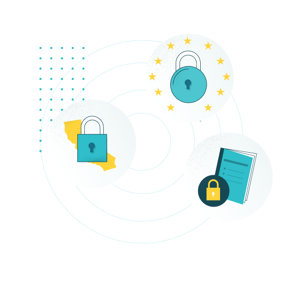 conceptual image of data security showing teal padlocks