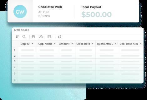 screenshot of employee's commission plan