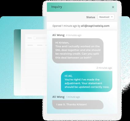 screenshot of commission inquiry chat window