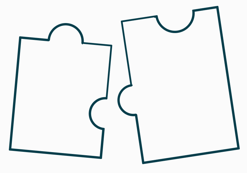 illustrated outlines of puzzle pieces fitting together on a white background