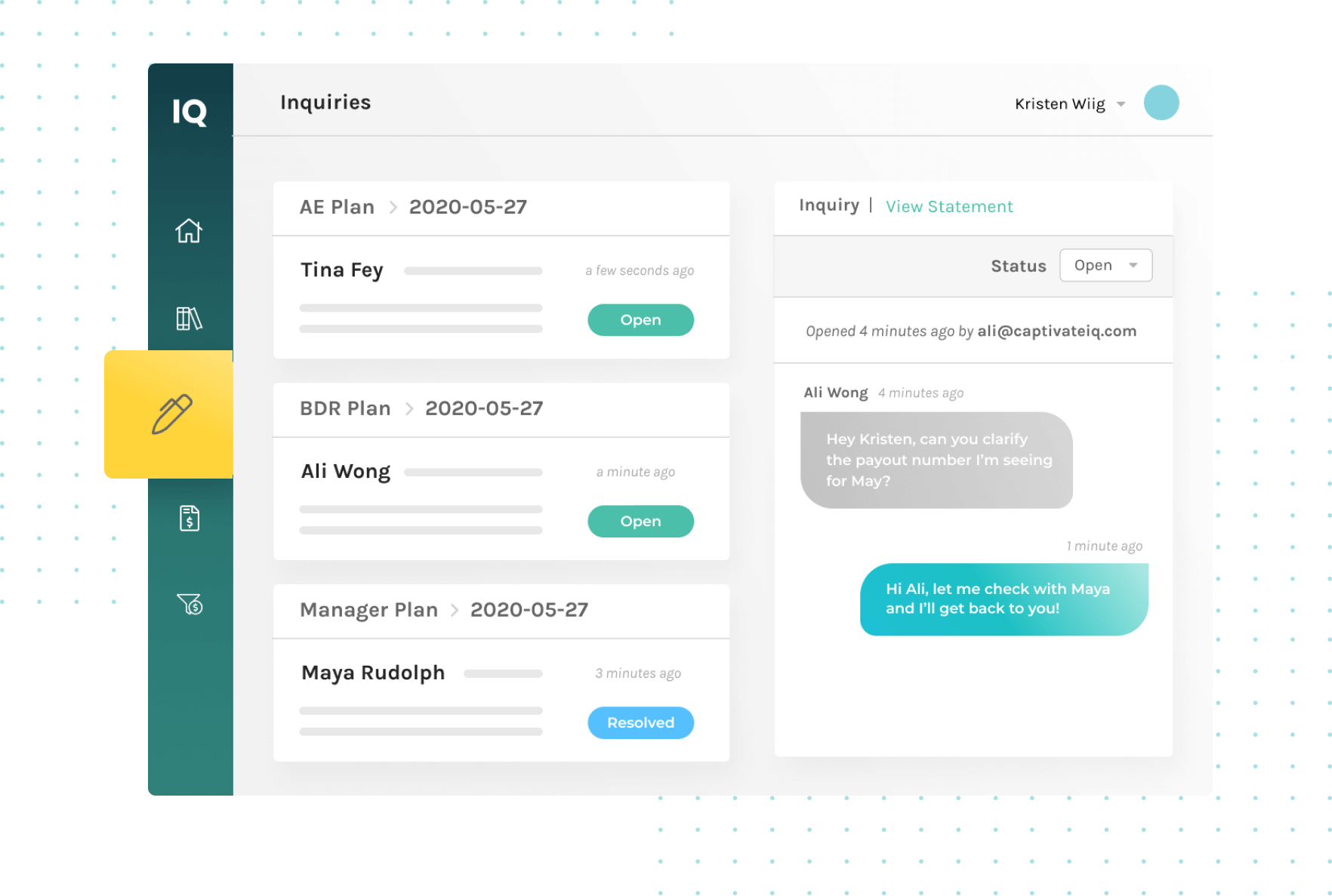 screenshot of pay inquiry conversation in captivate IQ software