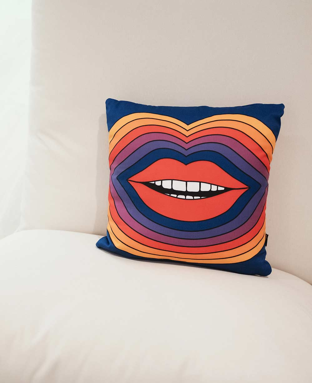 Photo of a pillow with a smile on it