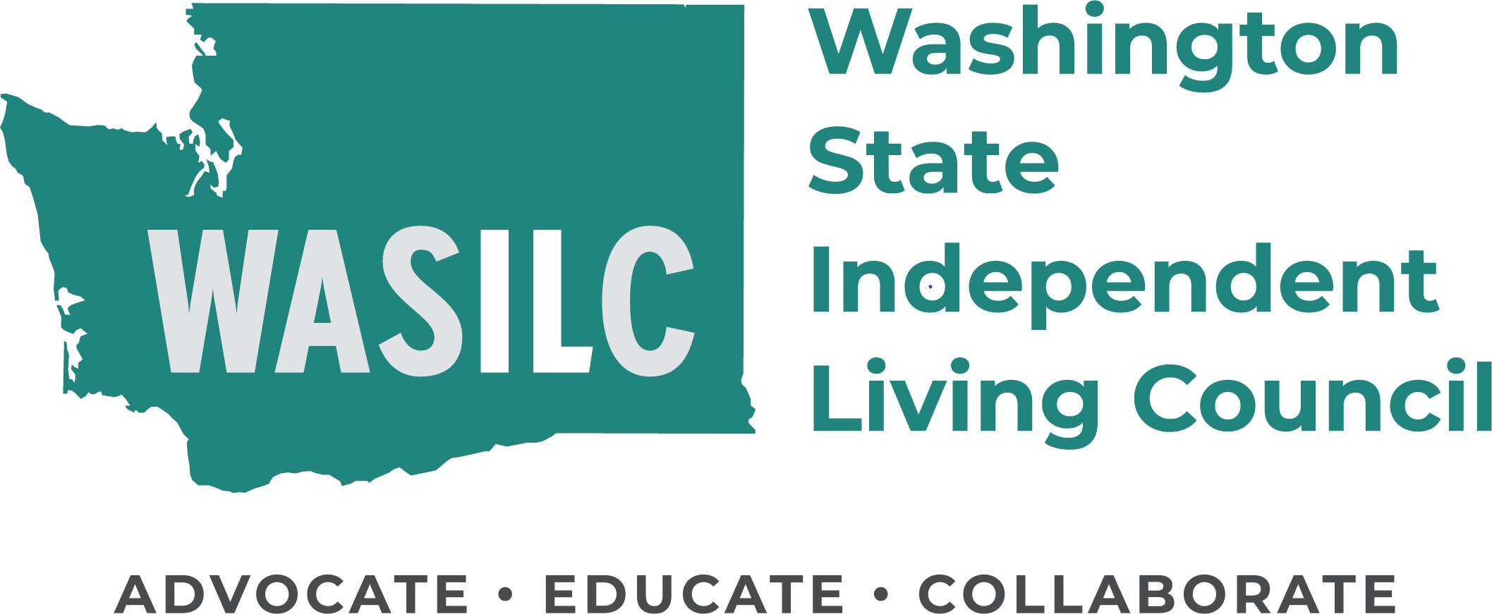 Logo of WASILC. Displays the silhouette of Washington state, the words Washington state independent living council, and the 3-fold mission: To advocate, educate, and collaborate.
