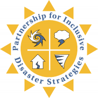PIDS Logo. Yellow sun featuring symbols of a hurricane, tornado, flood, and lightening storm.