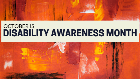 Red background and black lettering that says October is Disability Awareness Month.