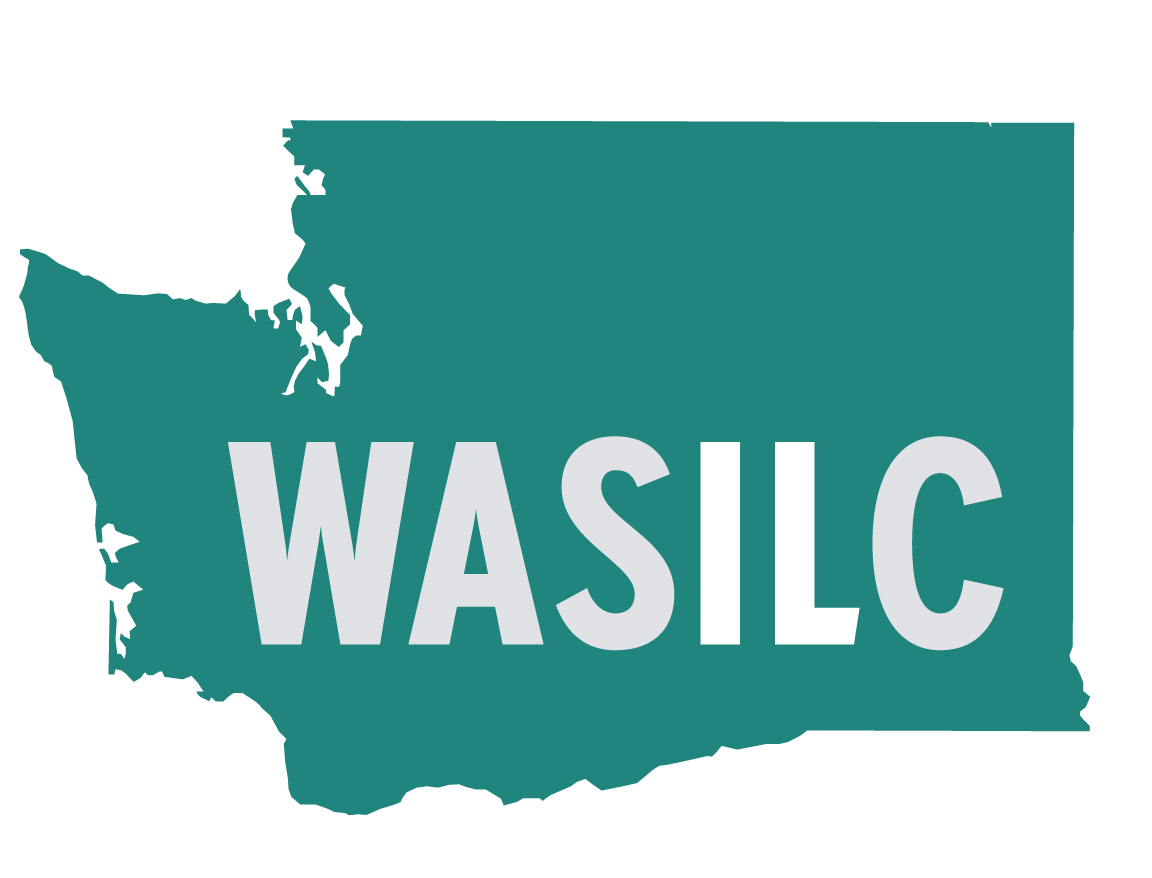 Logo for the Washington State Independent Living Council. The shape of Washington state with the acronym W A S I L C.