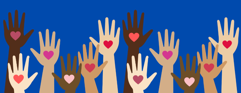 Hands of various skin tones, each with a red heart on the palm.
