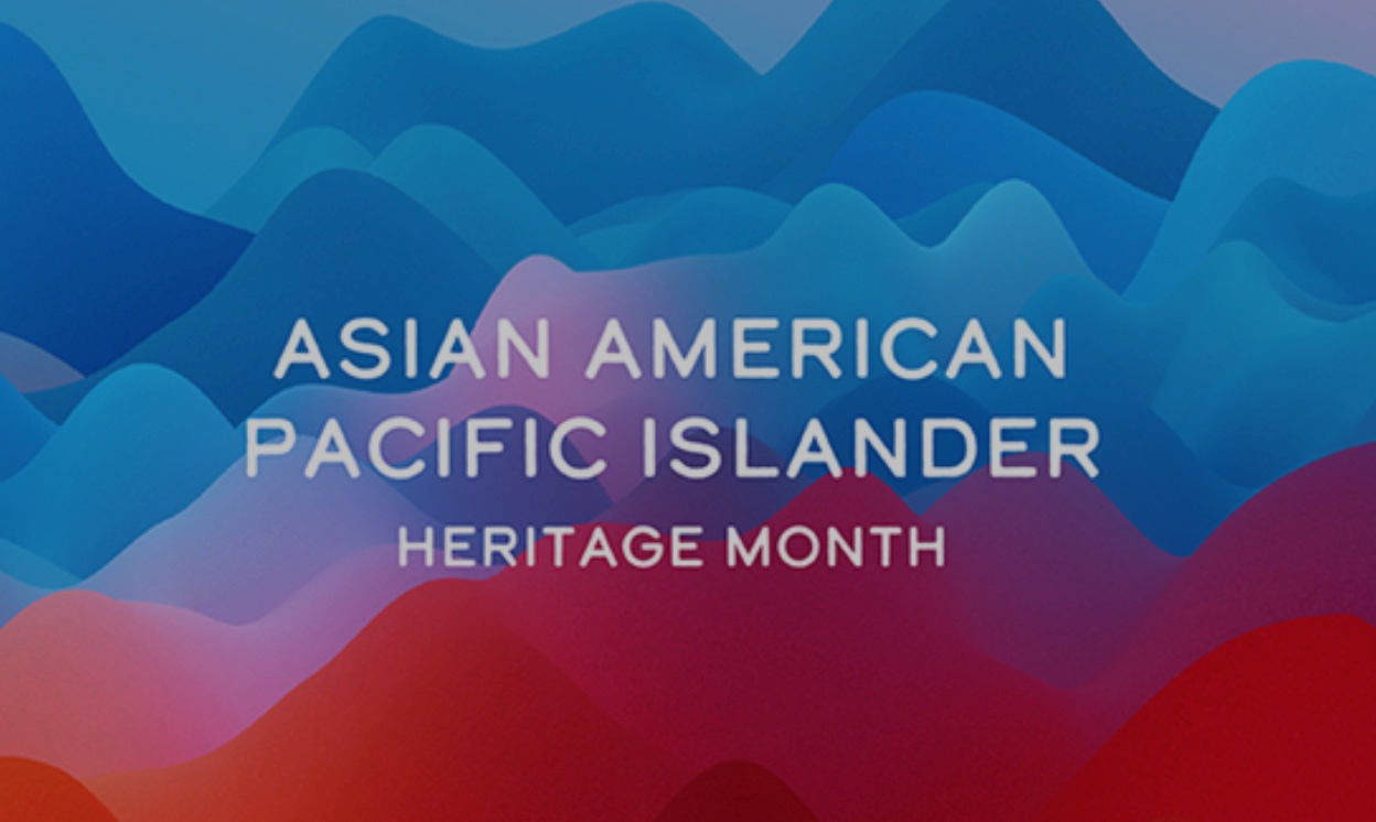 Asian American Pacific Islander Heritage Month. Background is blue and red ocean waves.
