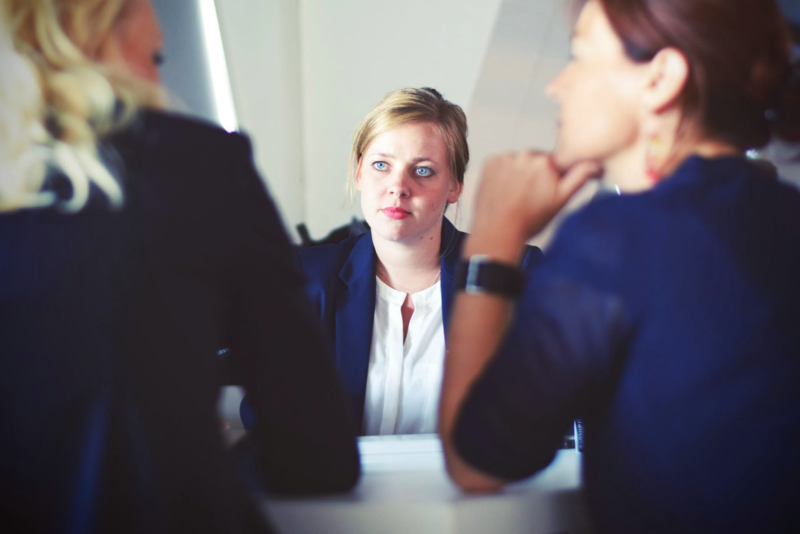 girl interviewing for a position