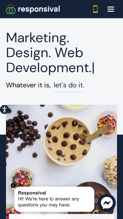 screenshot of mobile version of responsival website